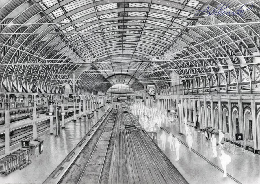 05-Paddington-Station-S-Ashkowski-Cities-and-Landmarks-Ballpoint-Pen-Drawings-www-designstack-co