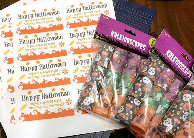 Kaleidoscope printable, printable for kaleidoscope halloween treats, easy classroom non candy treats for Halloween, Halloween non candy handout, last minute classroom treats for Halloween