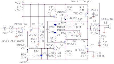 70 Watt OCL Amplifier Circuit Diagram