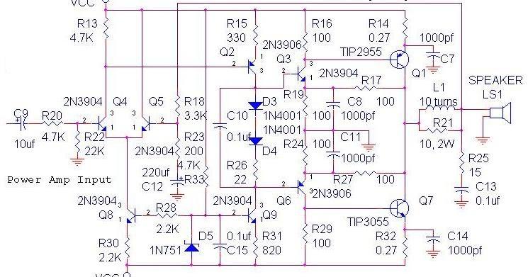 70 watt ocl amplifier circuit