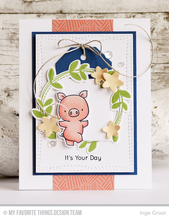 Handmade card from Inge Groot featuring Birdie Brown Hog Heaven and Lisa Johnson Designs Spring Wreath stamp sets and Die-namics, and Wonky Stitched Rectangle STAX and Tag Builder Blueprints 2 Die-namics #mftstamps