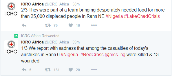 Ranna Nigeria bomb mistakenly kills civilians and red cross aid workers