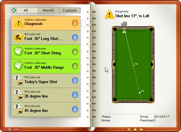 Diagnosis shot, just try to make a full hit shot, billiard exercise diary, Billiard Practice Software