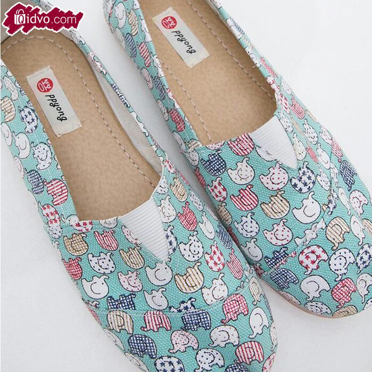 Sepatu Flat Wanita Casual Gajah Tosca | Kanvas Biru Muda