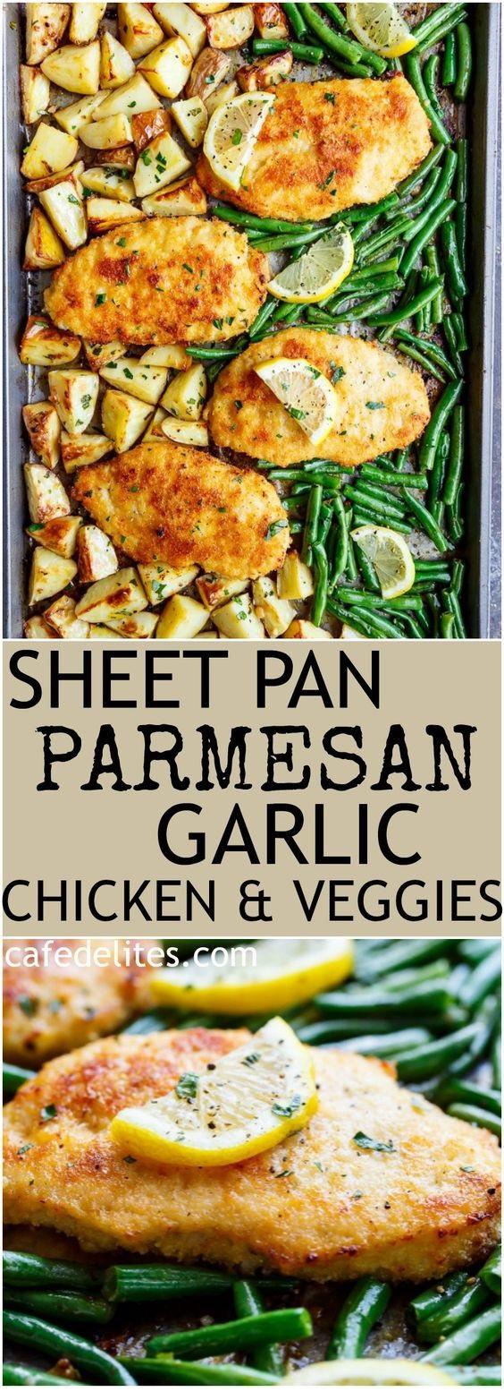 Crispy Sheet Pan Lemon Parmesan Garlic Chicken & Veggies