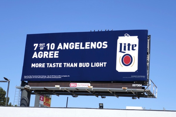 Miller Lite 7 out 10 Angelenos agree more taste Bud Light billboard
