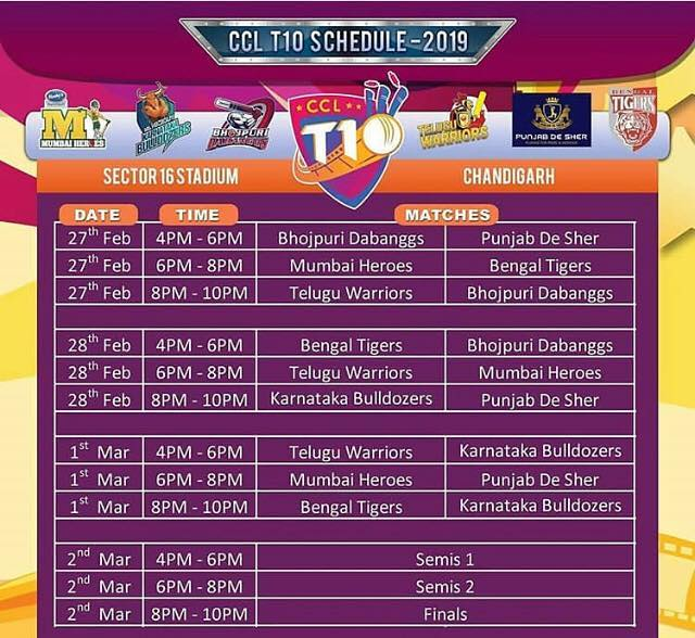 CCL 8 Schedule & Time Table – Celebrity Cricket League ...