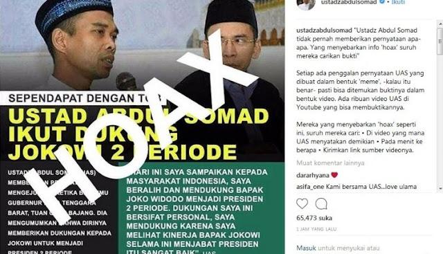 Beredar Meme Dukung Jokowi 2 Periode, Ustadz Somad Tantang Penyebar Meme Hoax