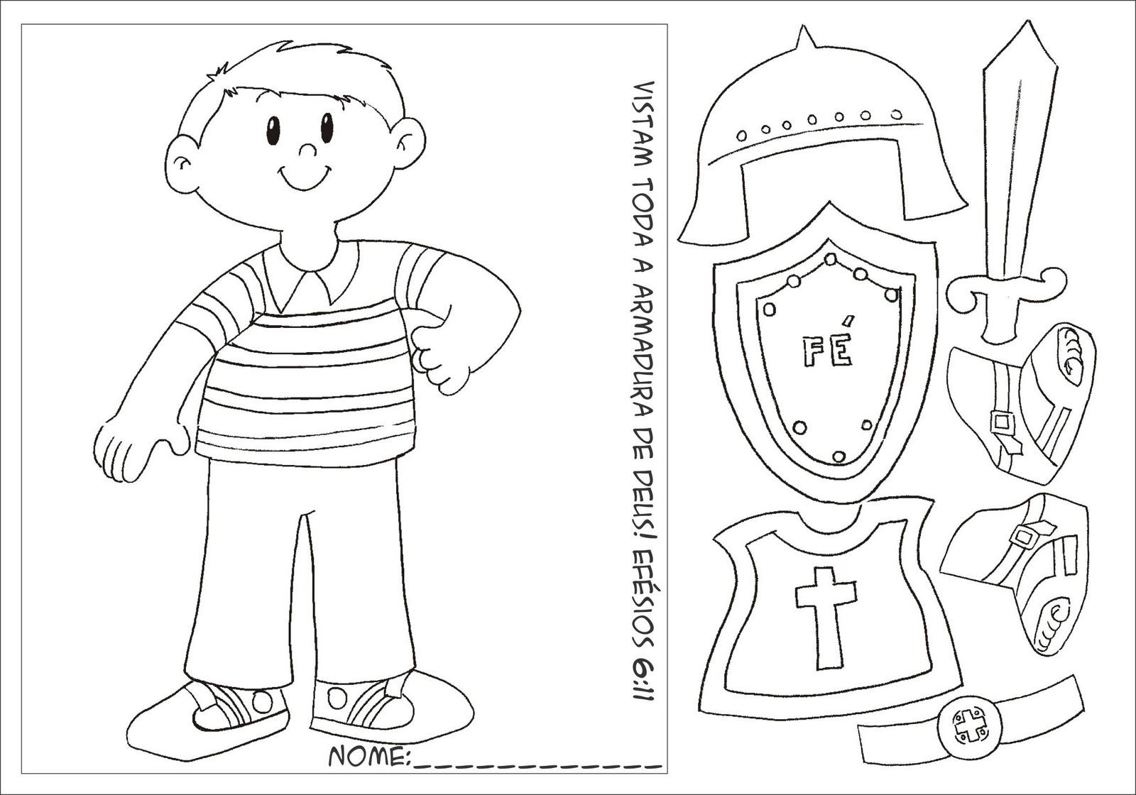 Crianças: Presente de Deus: Armadura de Deus (Moldes ou
