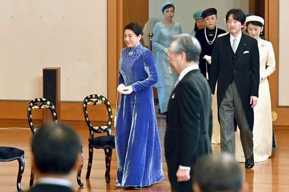 Emperor Naruhito, Empress Masako, Crown Prince Fumihito, Crown Princess Kiko, Princesses Kako, Mako, Nobuko, Akiko, Yoko, Hisako and Tsuguko
