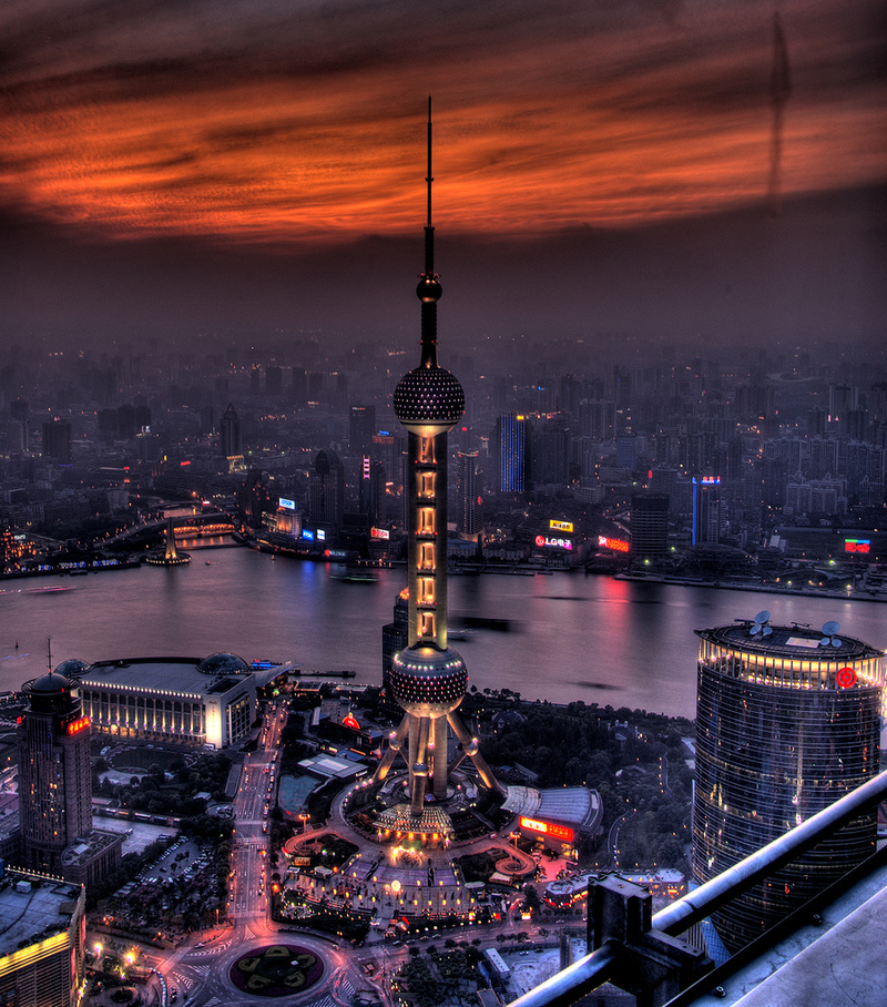 China Shanghai Scenery Wall Stickers Oriental Pearl Tv: Night Life All Over The World: Shanghai