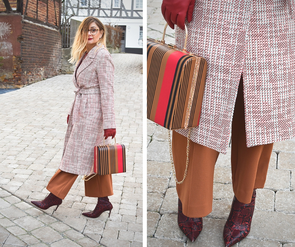 Outfit mit Mustermix, Schlangenprint Schuhe