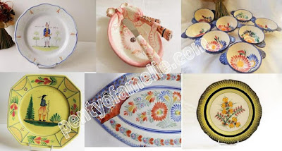 Vintage Breton Quimper Pottery Marks. Authentic Yellow Soleil, Pink Floral, Lug Bowls, Fish Platter from Quimper Wares signed Henriot HB Faiencerie in Brittany France