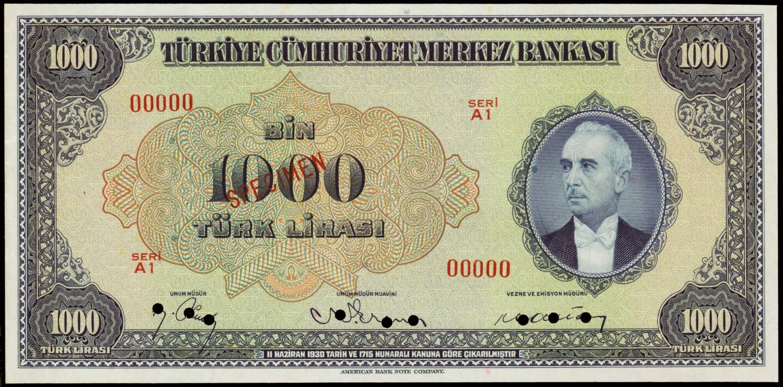 Turkey banknotes 1000 Turkish Lira note 1930 1946 İsmet İnönü