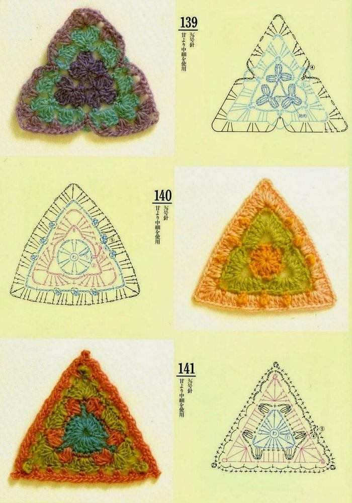 Motivos Triângulos de Crochê Com Gráfico 24