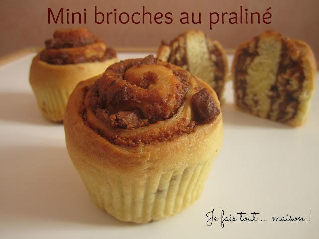 recette mini brioches praliné pépites de chocolat