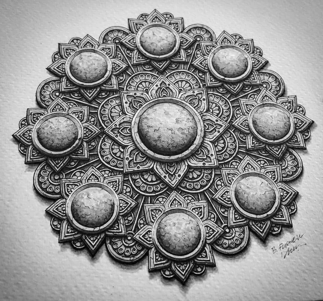 12-Flowers-Baz-Furnell-3D-Looking-Mandala-Drawings-www-designstack-co