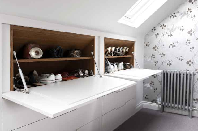 Under eaves space can be used for shoe storage