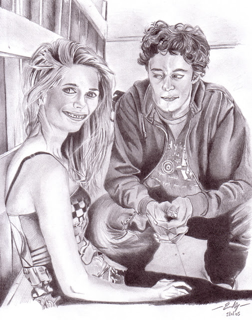 mischa barton, adam brody the o.c. sketch drawling