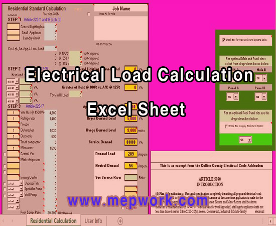 Download Electrical Load Calculation Excel Sheet