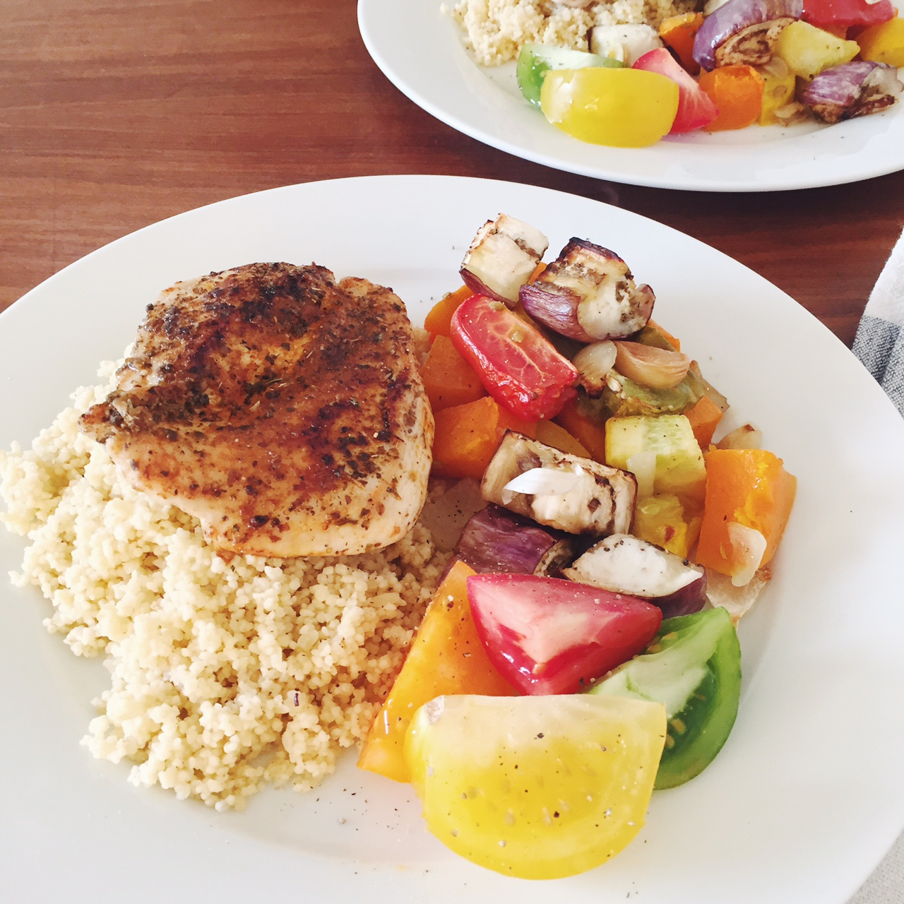 Mediterranean chicken with couscous and mixed veg