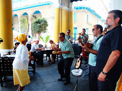 Cuban band and dancers at a tavern
