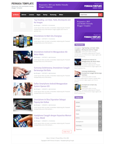 Perkasa-v1 Mobile Friendly and Responsive For Blogge Template