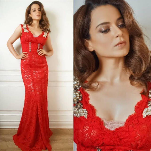 Kangana Ranaut in a Red Dolce Gabbana Red Gown at India's Next Superstars