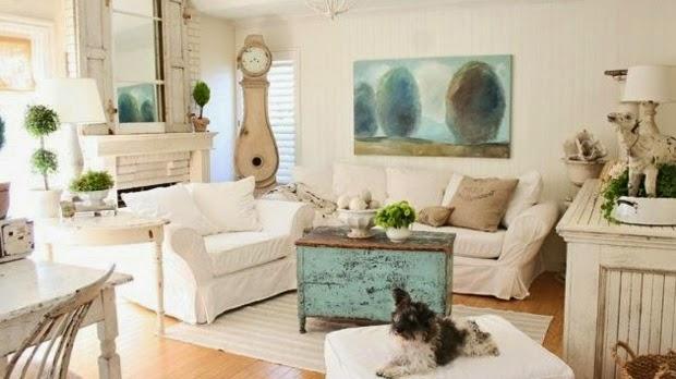10 salas estilo shabby chic colores en casa - Estilo shabby chic muebles ...