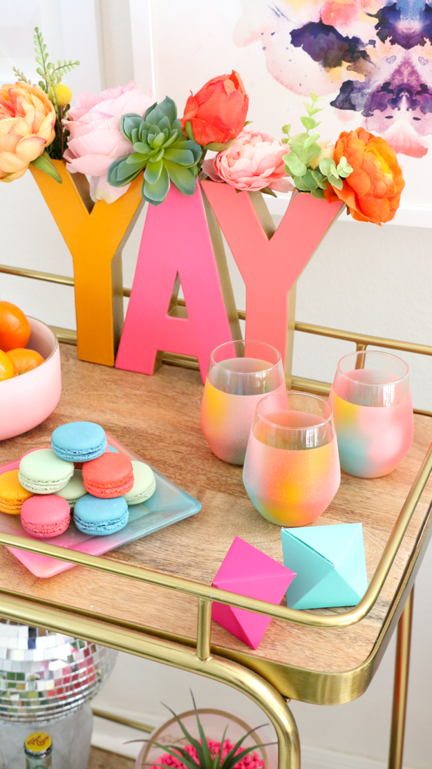 DIY Gradient Bar Ware - Wine Glasses, cocktail glasses, bar cart ideas - styling - cocktail shaker gradient - craft ideas - home decor diy projects