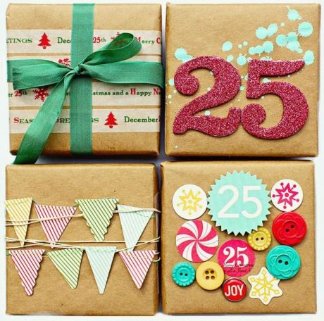 colorful kraft paper different tops Christmas gift wrapping