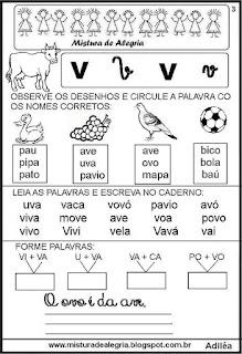 Livro famílias silábicas letra V