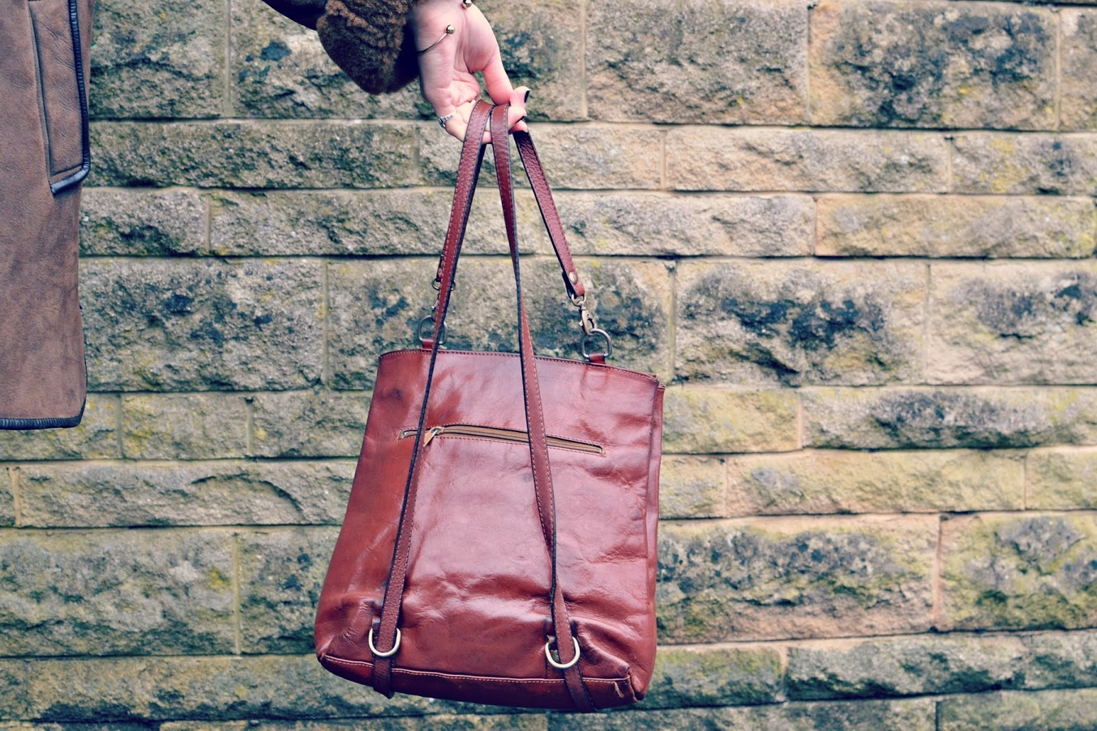 vintage french leather backpack
