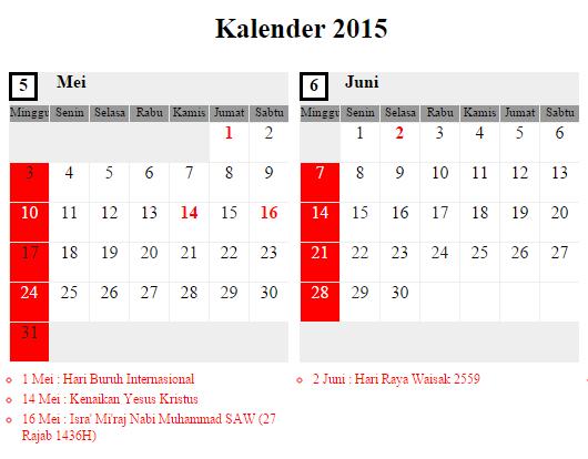 Kalender Mei - Juni 2015