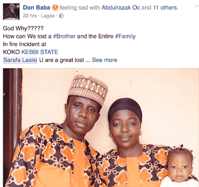 FIRE OUTBREAK KILLED ENTIRE  FAMILY IN KEBBI STATE