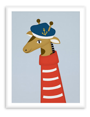 Sailor Giraffe - Nautical Poster Nursery