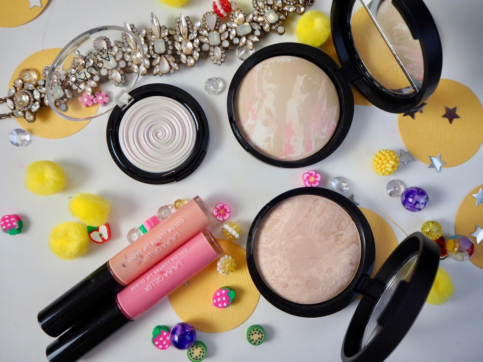 The Best Of: Laura Geller* Color Lustre Lip Glosses, Diamond Dust Baked Gelato Illuminator, Balance and Brighten Powder Foundation
