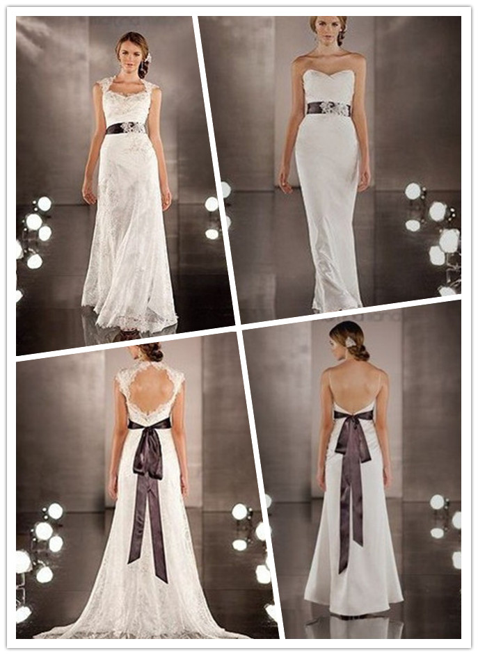 2 In 1 Wedding Dresses With Color Accents