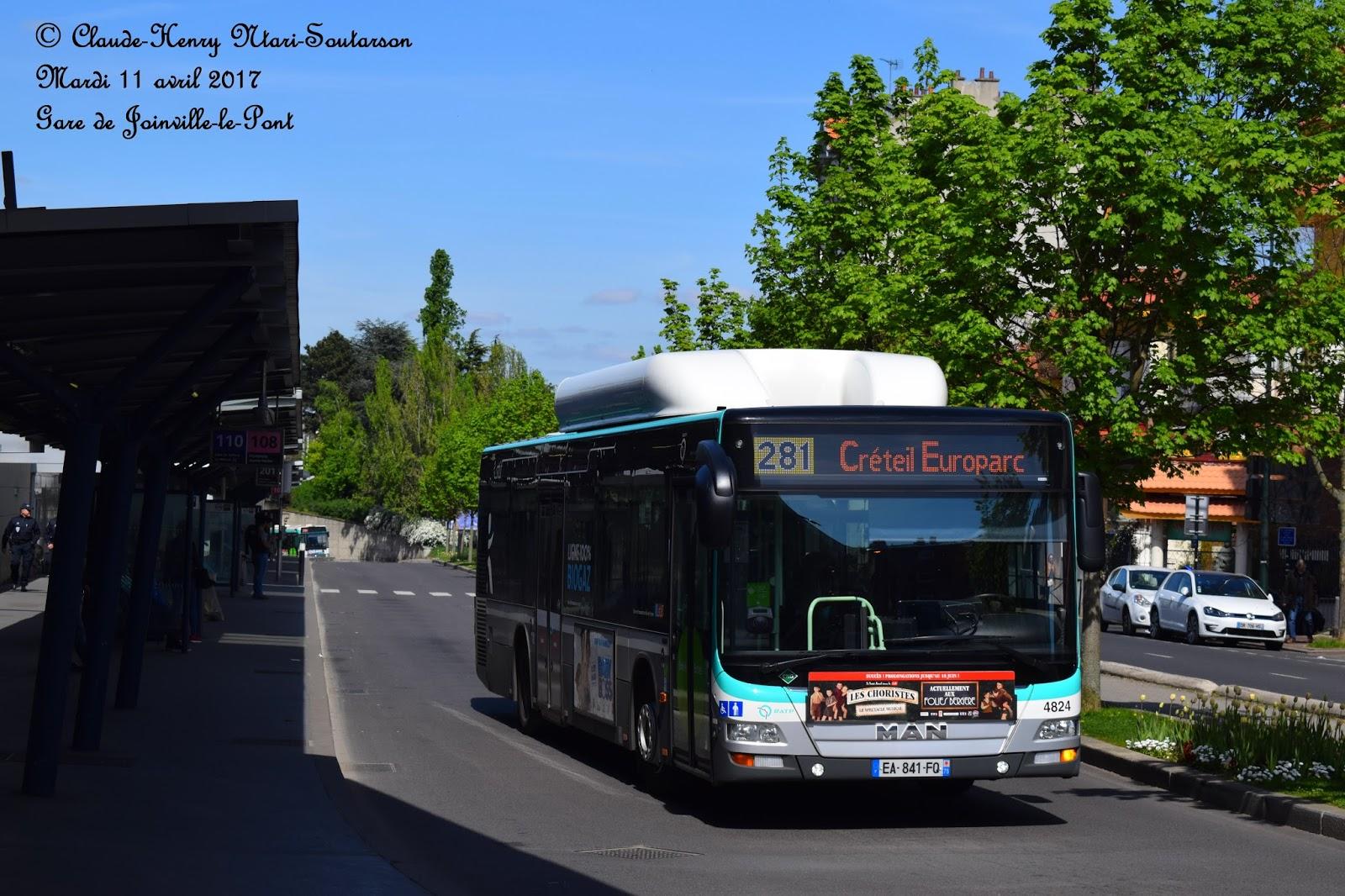 la ligne de bus ratp 281  cr u00e9teil  devient une ligne 100    u00e9quip u00e9e de bus roulant au gaz naturel