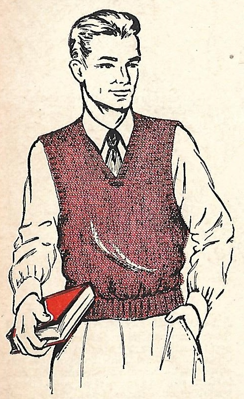 Little Grey Bungalow Knitting A Mans Sweater Vest From 1952