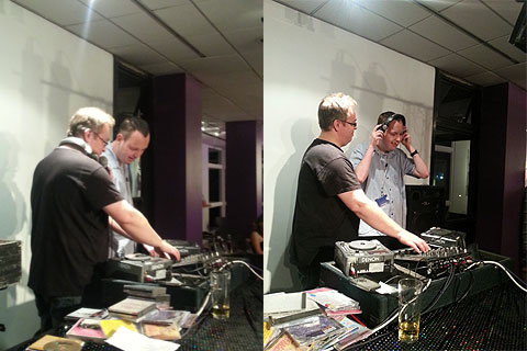 Photo of Chris Wilson getting some DJ practice in at Liams Club Night.