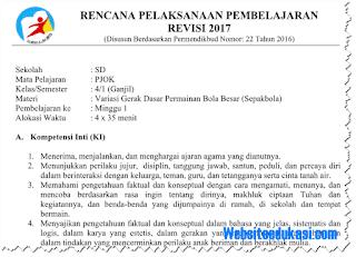 RPP PJOK Kelas 4 SD/MI Semester 1 K13 Revisi 2018