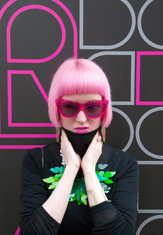 House of Holland glasses, pink hair, snake earrings