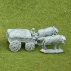 TMS13 Four Wheeled covered cart with solid wheels, 2 horses or Oxen and driver.