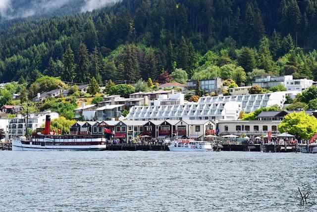 boat, wharf, trees, mountain