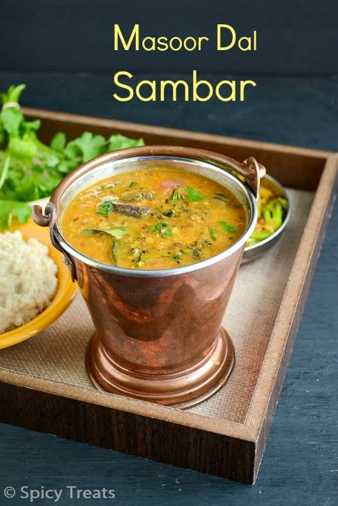 Spicy Treats: Masoor Dal Sambar / Masoor Dal Sambar Using