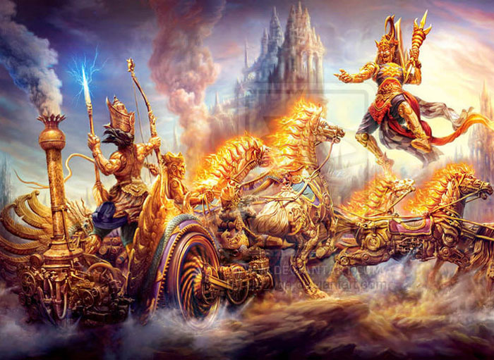 Image result for lord krishna and narakasura on diwali