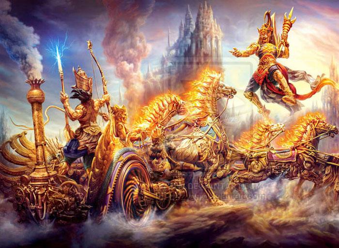 Image result for lord krishna and narakasura on diwali