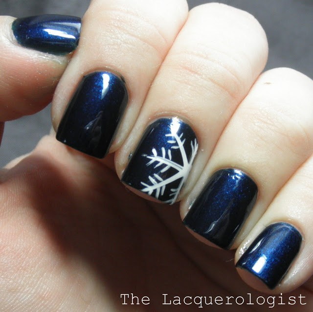Snowflake on Electric Blue