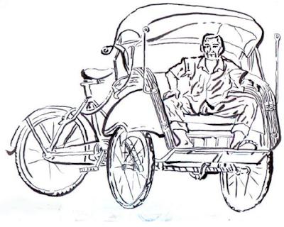 Gambar Hasil sketsa dengan tinta Oi, alat kuas kecil